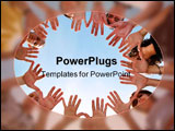 PowerPoint Template - Peolple hands circle on a background of the sky