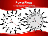 PowerPoint Template - Business men run and walk in a hurry on time. Through the business work day on clocks like gears.