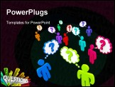 PowerPoint Template - Many colorful people stand in a crowd thinking of questions