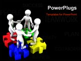 PowerPoint Template - People with puzzle. 3d Very beautiful three-dimensional illustration on white background