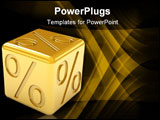 PowerPoint Template - Golden percentage dice on a white background. Part of a series