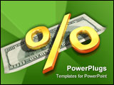 PowerPoint Template - Symbol of the percent rests upon one hundred dollars