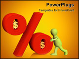 PowerPoint Template - Conceptual 3d image - percent in dollars