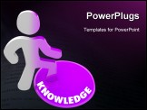 PowerPoint Template - A person stands onto a button marked Knowledge and his color transforms to symbolize his evolution