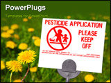 PowerPoint Template - close up of a herbicide warning sign on a lawn that is filled with dandelions