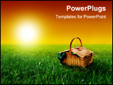 PowerPoint Template - a picnic basket on the grass field and a sunset