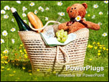 PowerPoint Template - Picnic in the meadow with basket of food and teddy bear