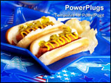 PowerPoint Template - Hot dogs and cornbread on 4th of July in patriotic theme