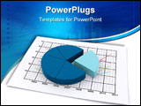 PowerPoint Template - pie chart lying on a paper sheet containing a business diagram (3d render)