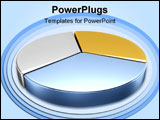 PowerPoint Template - 3D metallic color pie charts a large one in front.