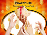 PowerPoint Template - Many desperate hands reaching for a piggy bank