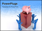 PowerPoint Template - 3d render of piggy bank. Finance concept.