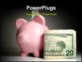 PowerPoint Template - iggy bank with us currency saving with a piggy bank money and a pink piggy bank saving money puttin