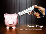 PowerPoint Template - Man pointing a gun at a piggy bank