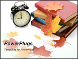 PowerPoint Template - Pile of books writing-book pen alarm clock and autumn leaves on a white background.