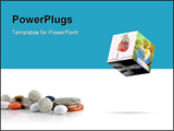 PowerPoint Template - medical cube with 3 photos & Pills