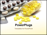 PowerPoint Template - pills in bottle and blisters close-up on white background