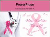 PowerPoint Template - pink ribbon remember breast cancer poster illustration