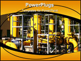 PowerPoint Template - Gas pipeline. Yellow steel pipes. Industrial area detail.