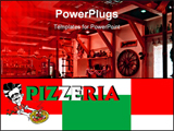 PowerPoint Template - Restaurant interior, italian cook pizzaiolo pizza pizzeria and flag