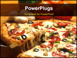 PowerPoint Template - Crunchy pizza and topping close up shot
