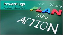 PowerPoint Template - Put your plan into action words on blackboard