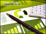 PowerPoint Template - Financial Planning Pen and Calculator and Review of Year End Reports