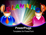 PowerPoint Template - man and woman with the word planning stretching from one brain to another - icon people series
