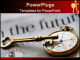PowerPoint Template - ocket watch and skeleton key atop newspaper with the words IN THE FUTURE in this potrayal of market