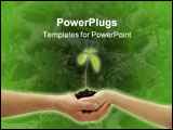 PowerPoint Template - A young new plant growing from palm in two hands isolated