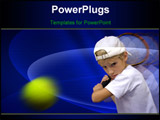 PowerPoint Template - The boy is playing tennis discourages the ball