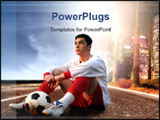 PowerPoint Template -  soccer player with a ball sitting on an american road ** Note: Slight blurriness, best at smaller
