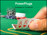 PowerPoint Template - cards held by fingers showing a royal flush