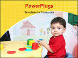 PowerPoint Template - Two year old boy playing with colorful dough at preschool. Shot with the Canon 20D.