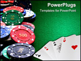 PowerPoint Template - A selection of poker chips with values on a green felt poker table
