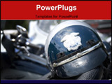 PowerPoint Template - An American police helmet on the saddle of a motorcycle.