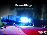 PowerPoint Template - close up of a blue police siren on a red car
