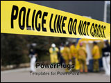 PowerPoint Template - a police line in front of a hazmat decontamination shower.