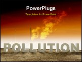 PowerPoint Template - Dry cracked landscape with the word pollution