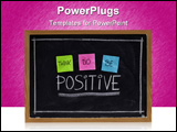 PowerPoint Template - hink do be positive - positivity concept color sticky notes white chalk drawing and handwriting on