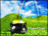 PowerPoint Template -  pot at the end of the rainbow shown surounded by a lucky clover garden and roling hills of grass i