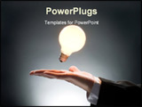 PowerPoint Template - a man pointing to the illuminated bulb