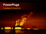 PowerPoint Template - Power plant in background at night