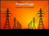 PowerPoint Template - 3D Electric powerlines over sunrise