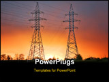PowerPoint Template - electrical power line at sunset sunrise dusk