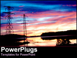 PowerPoint Template - Rainbow sunset behind power lines.
