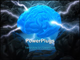 PowerPoint Template - oncept of leadership. The brain in the center has the power to lead. The light and rays represent t