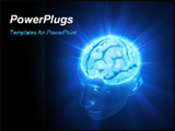 PowerPoint Template - Head illuminated by the energy of the brain. Concept of thinking the power of mind.