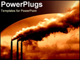 PowerPoint Template - Dark haunting powerplants blowing out smoke.