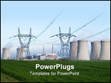 PowerPoint Template - uclear power station Dukovany Czech Republic - power lines and cooling towers containment buildings